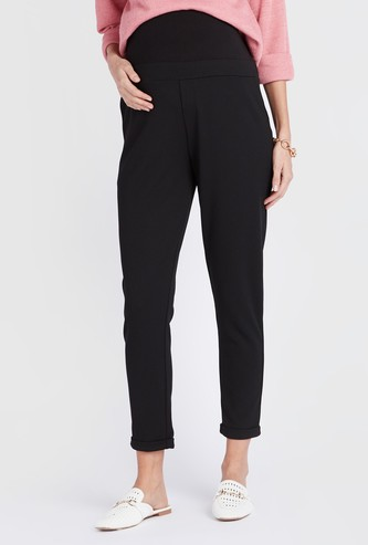 Maternity Solid Leggings with Pockets