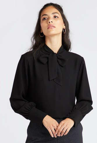 Solid Formal Top with Necktie and Bishop Sleeves