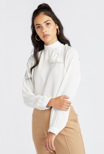 Ruffle Detail Top with High Neck and Long Sleeves