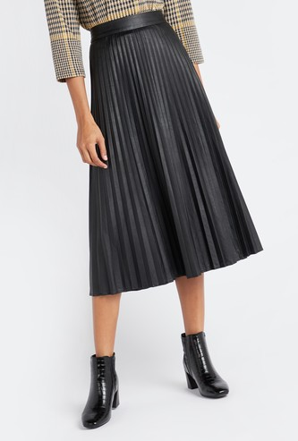 Knife Pleat Midi Skirt with Elasticated Waistband