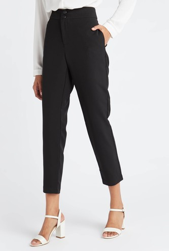 Solid Mid-Rise Cropped Trousers with Pocket Detail