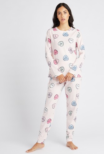All Over Print Long Sleeves T-shirt and Pyjama Set