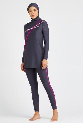 Solid Long Sleeves Burkini with Full Length Leggings