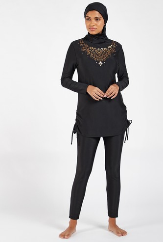 Graphic Printed 2-Piece Burkini with Long Sleeves