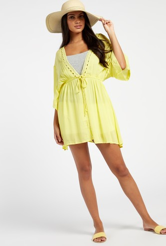 Solid Lace Detail V-neck Cover Up with 3/4 Sleeves and Waist Tie Up