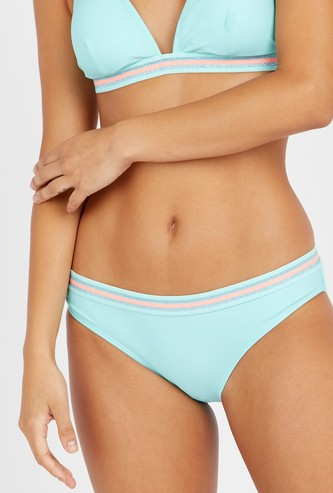 Solid Bikini Briefs with Elasticised Waistband