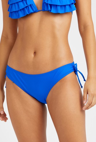 Solid Bikini Brief with Side Tie Up
