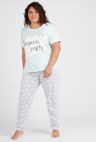 Printed Short Sleeves T-shirt and Pyjama Set
