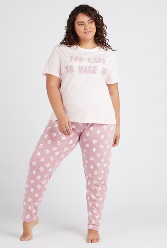 All Over Print Short Sleeves T-shirt and Pyjama Set