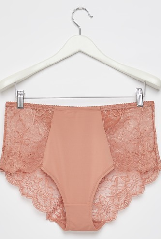 Solid Hipster Briefs with Lace Detail and Elasticated Waistband