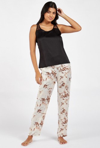 Solid Scoop Neck Sleeveless Top and Printed Pyjama Set