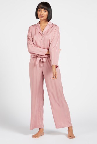 Striped Shirt with Long Sleeves and Full Length Pyjama Set