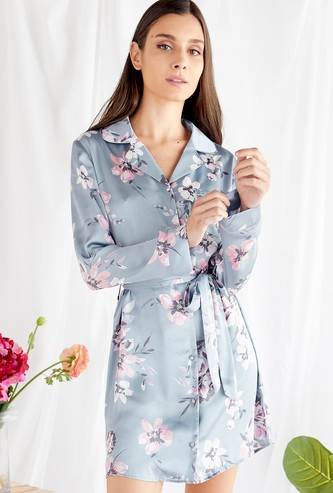 Floral Print Sleepshirt with Long Sleeves and Tie-Ups