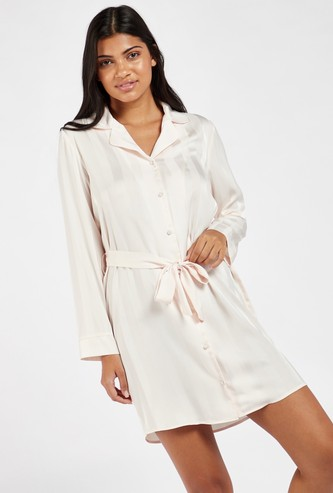 Striped Long Sleeves Chemise with Collar and Tie-Up Belt