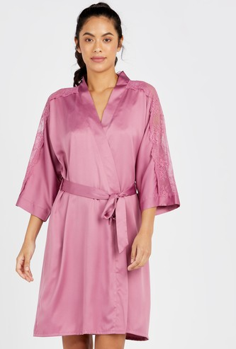 Solid Robe with 3/4 Sleeves and Tie Up Detail