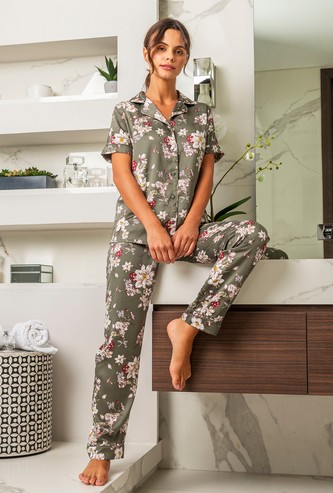 Floral Print Short Sleeves Shirt and Pyjama Set