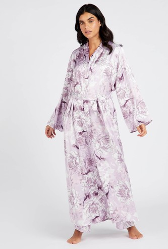 Floral Print V-Neck Robe with Long Sleeves