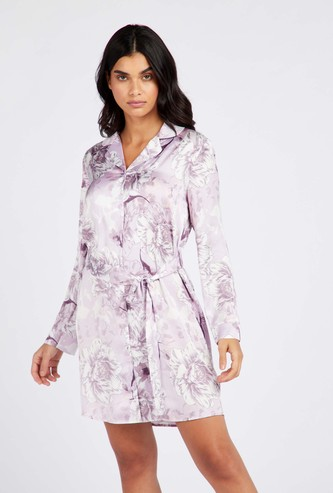 Floral Print Sleepdress with Long Sleeves and Tie Ups