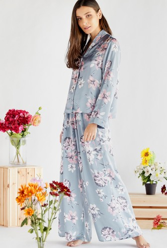 Floral Print Long Sleeves Shirt and Pyjama with Elasticised Waistband