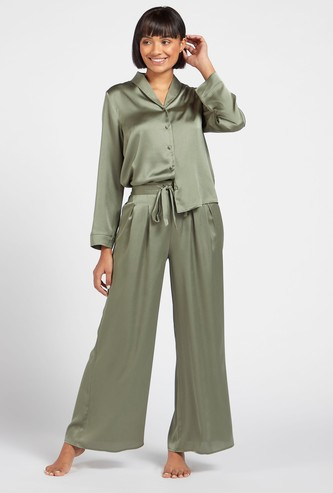 Solid Collared Shirt with Long Sleeves and Pyjama with Drawstring Set
