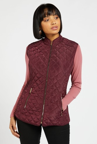 Solid Knitted Sleeveless Jacket with High Neck and Pocket Detail
