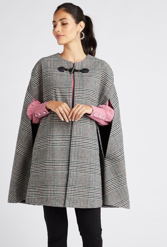 Checked Toggle Cape Jacket with Round Neck
