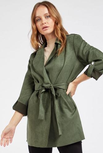 معطف سادة مع ياقة عادية وحزام