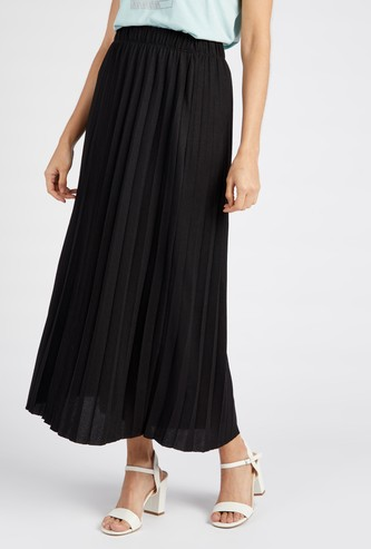 Solid Pleated Maxi Skirt with Elasticated Waistband