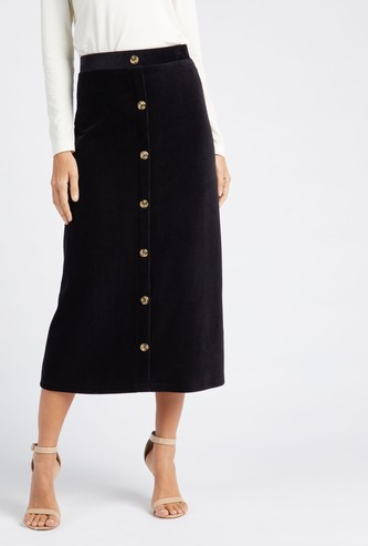 Textured Midi Corduroy A-line Skirt with Button Placket