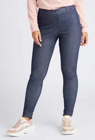 Solid Buttoned-Up Jeggings