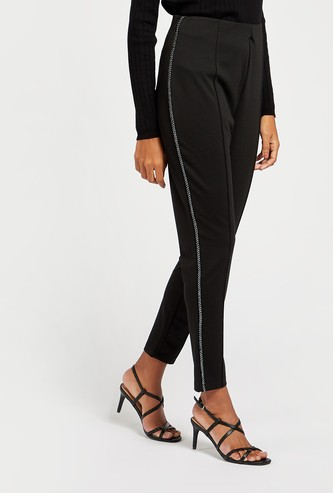 Ankle-Length Solid Ponte Pants with Side Tape Detail
