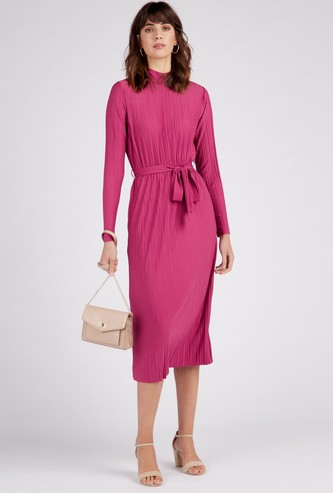 Pleat Detail Midi Shift High Neck Dress with Long Sleeves and Belt