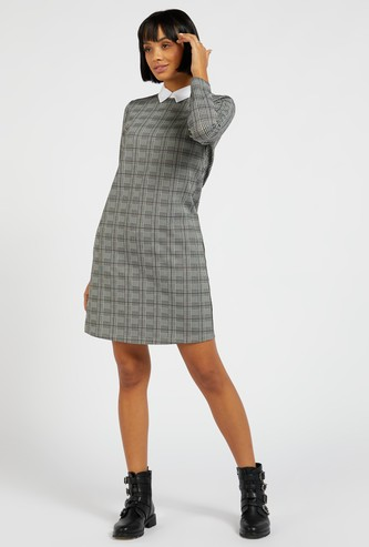 Checked Shift Dress with Peter Pan Collar and Long Sleeves