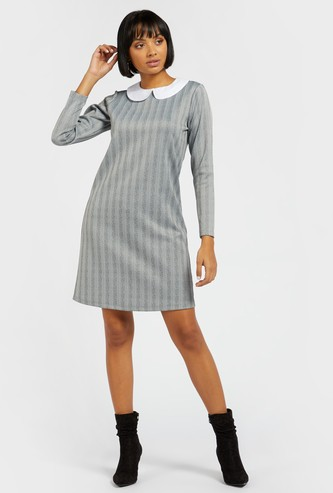 Striped Shift Dress with Peter Pan Collar and Long Sleeves