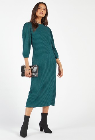 Ribbed Detail Midi Shift Dress with 3/4 Sleeves