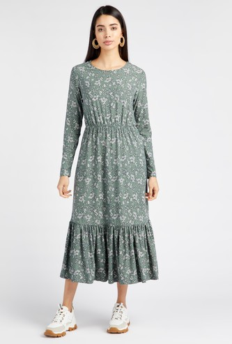 Floral Print Round Neck Midi Tiered Dress with Long Sleeves