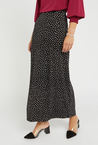 All Over Print Maxi A-line Skirt with Elasticised Waistband