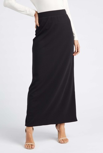 Textured A-line Maxi Skirt with Elasticated Waist