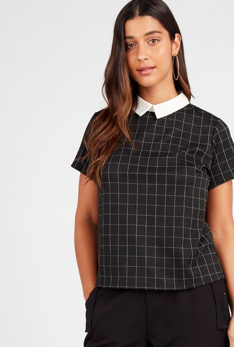 Checked Top with Contrast Collar and Short Sleeves