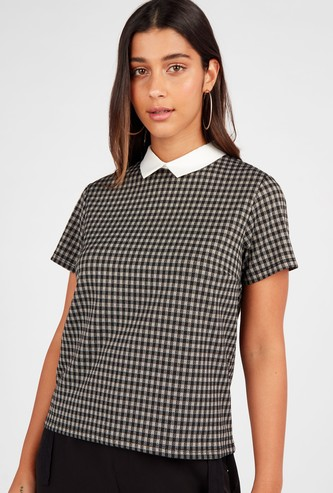 Checked Ponte Top with Collared Neck and Short Sleeves