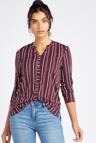 Striped Top with V-Neckline and Long Sleeves