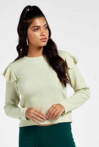 Textured Top with Ruffle Detail and Long Sleeves
