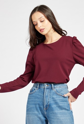 Solid Top with Round Neck and Volume Long Sleeves