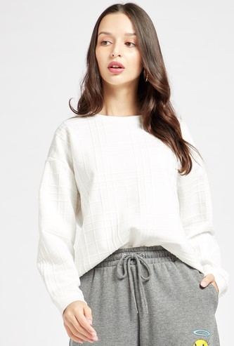 Textured Sweat Top with Round Neck and Long Sleeves