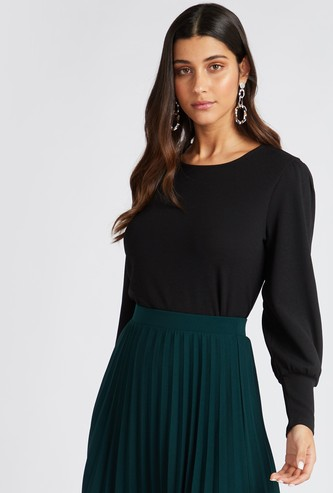 Solid Round Neck Top with Bishop Sleeves