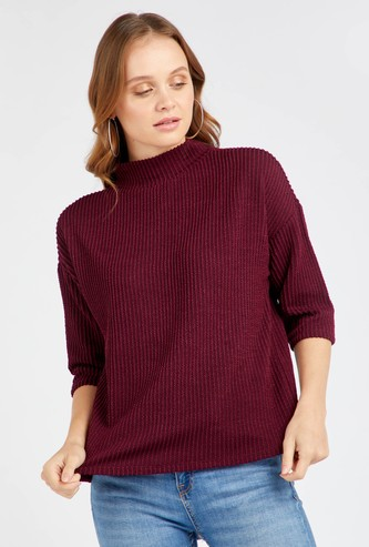 Textured High Neck Top with 3/4 Sleeves
