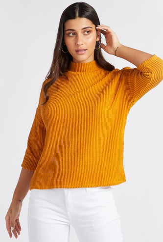 Textured High Neck Jumper with 3/4 Sleeves
