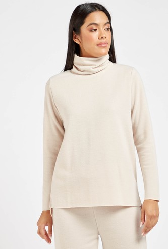 Solid Sweater with Turtleneck and Long Sleeves