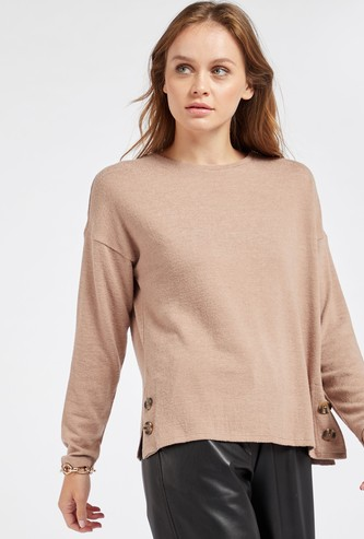 Solid Boxy Top with Long Sleeves and Button Detail