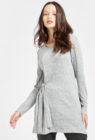 Textured Longline Tunic with Long Sleeves and Tie-Ups
